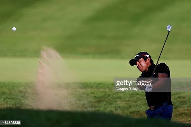 Andres Romero of Argentina plays form a bunker on the 17th hole during round two of the RBC Canadian Open on July 24 2015 at Glen Abbey Golf Club in...