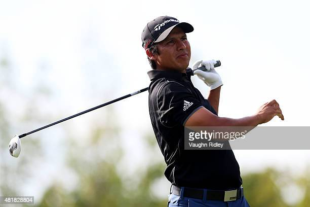Andres Romero of Argentina plays his shot from the 18th tee during round two of the RBC Canadian Open on July 24 2015 at Glen Abbey Golf Club in...