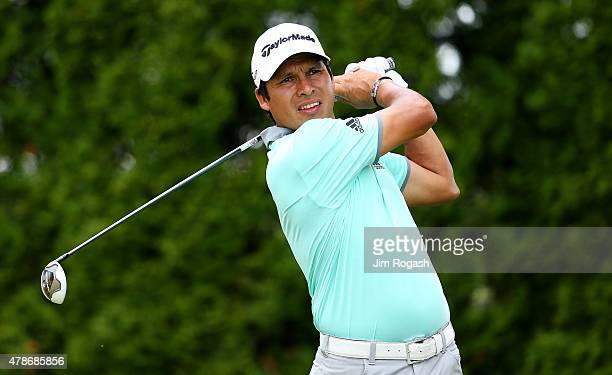Andres Romero of Argentina plays his shot from the ninth tee during the second round of the Travelers Championship at TPC River Highlands on June 26...