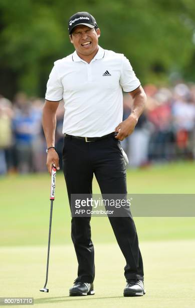 Andres Romero of Argentina reacts after winning the final of the BMW International Open golf tournament in Eichenried near Munich southern Germany on...