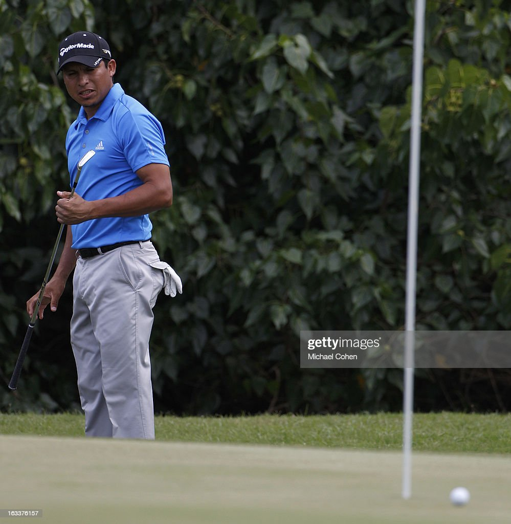 Andres Romero of Argentina reacts to his eagle chip on the 15th green during the second round of the Puerto Rico Open presented by seepuertorico.com held at Trump International Golf Club on March 8, 2013 in Rio Grande, Puerto Rico.
