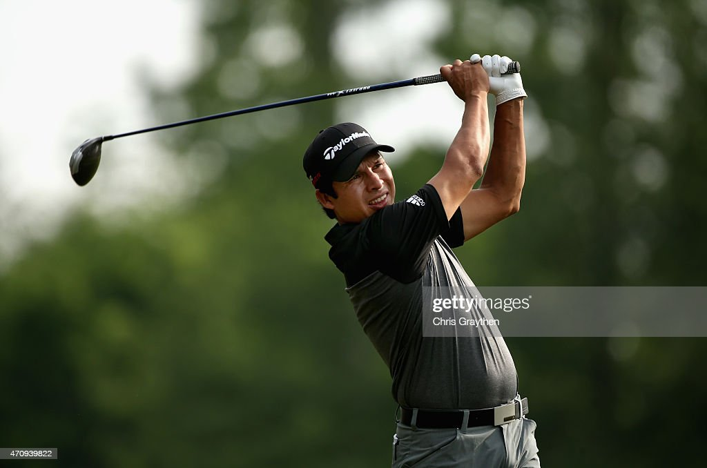 Andres Romero of Argentina tees off on the 12th hole during round two of the Zurich Classic of New Orleans at TPC Louisiana on April 24 2015 in...