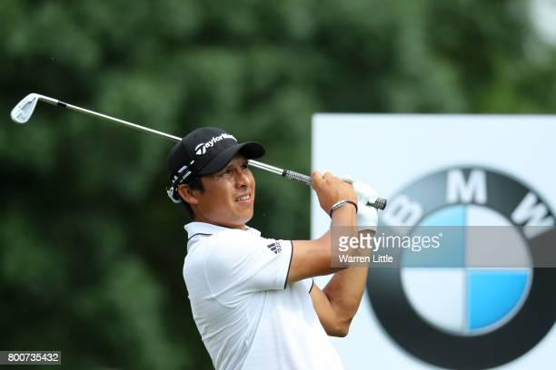 Andres Romero of Argentina tees off on the 12th hole during the final round of the BMW International Open at Golfclub Munchen Eichenried on June 25...