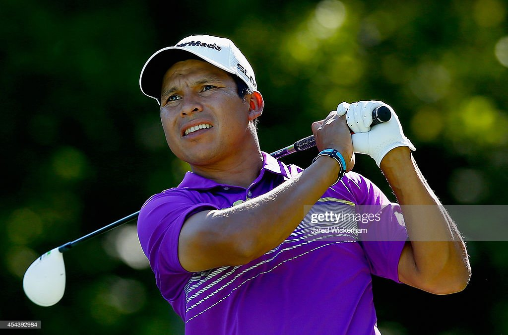 Andres Romero of Argentina tees off on the 18th hole during the second round of the Deutsche Bank Championship at the TPC Boston on August 30 2014 in...