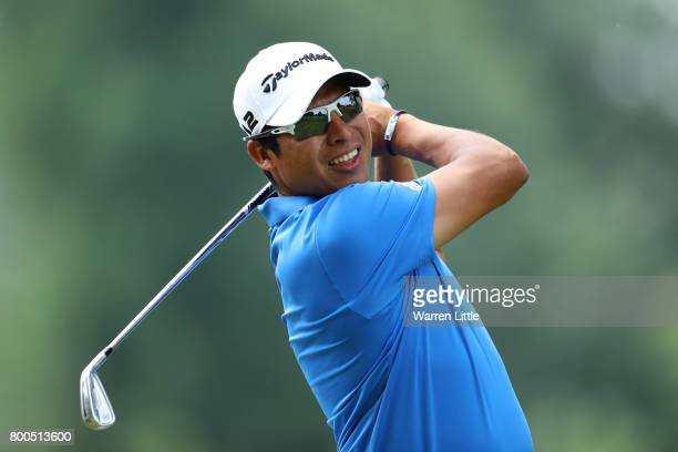 Andres Romero of Argentina tees off on the 2nd hole during day three of the BMW International Open at Golfclub Munchen Eichenried on June 24 2017 in...