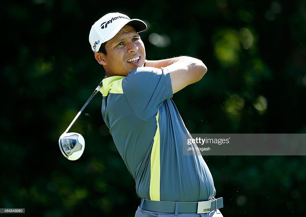 Andres Romero of Argentina tees off on the 4th hole during the first round of the Deutsche Bank Championship at the TPC Boston on August 29 2014 in...