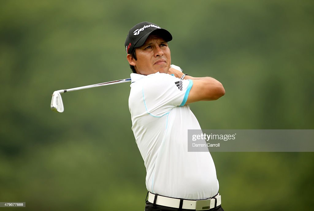 Andres Romero of Argentina tees off on the third hole during the final round of the Greenbrier Classic held at The Old White TPC on July 5 2015 in...