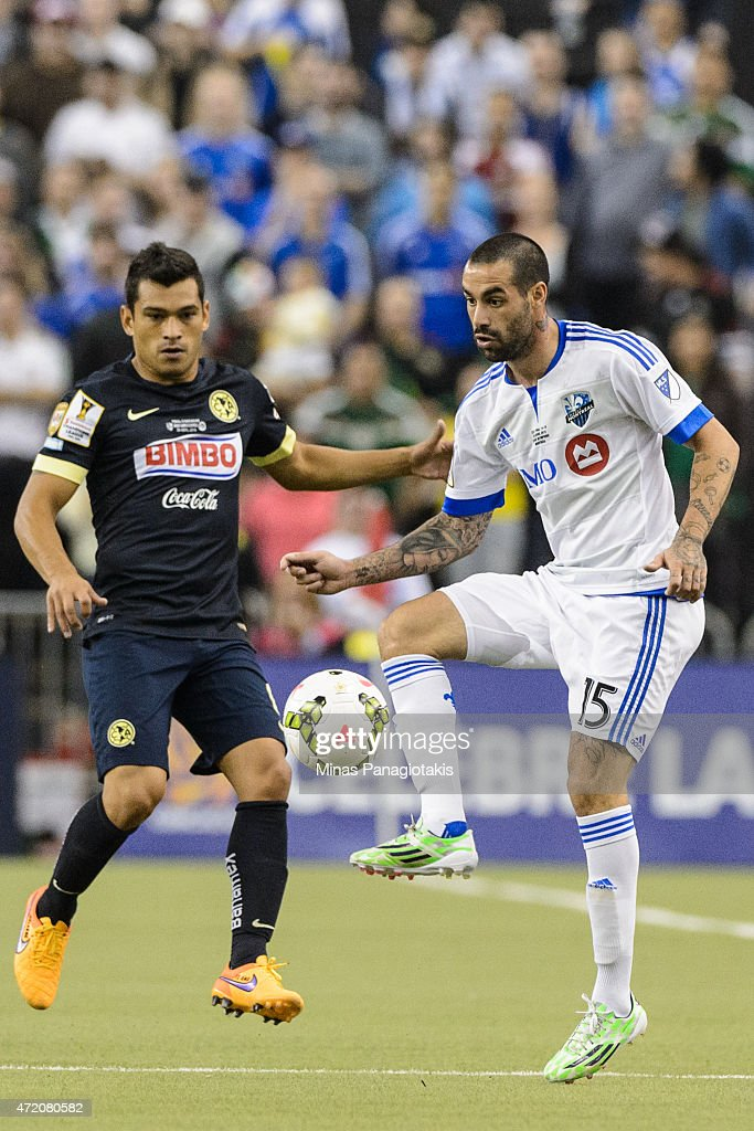 Andres Romero of the Montreal Impact looks to play the ball in the 2nd Leg of the CONCACAF Champions League Final against Club America at Olympic...