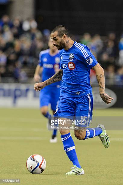 Andres Romero of the Montreal Impact moves the ball during the MLS game against the Orlando City SC at the Olympic Stadium on March 28 2015 in...
