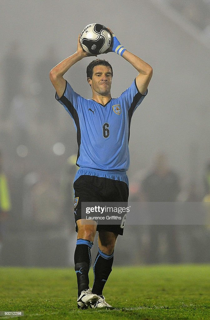 Andres Scotti of Uruguay in action duing the 2010 FIFA World Cup Play Off Second Leg Match between Uruguay and Costa Rica at The Estadio Centenario...