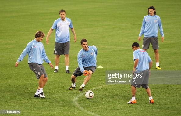 Andres Scotti of Uruguay in action during the Uruguay training session ahead of the 2010 FIFA World Cup South Africa at Green Point stadium on June...
