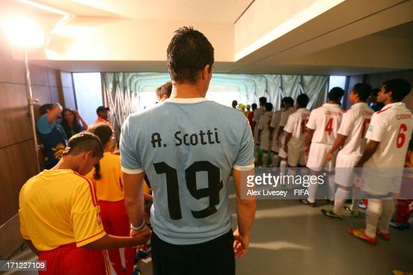 Andres Scotti of Uruguay prepares to walking onto the pitch during the FIFA Confederations Cup Brazil 2013 Group B match between Uruguay and Tahiti...
