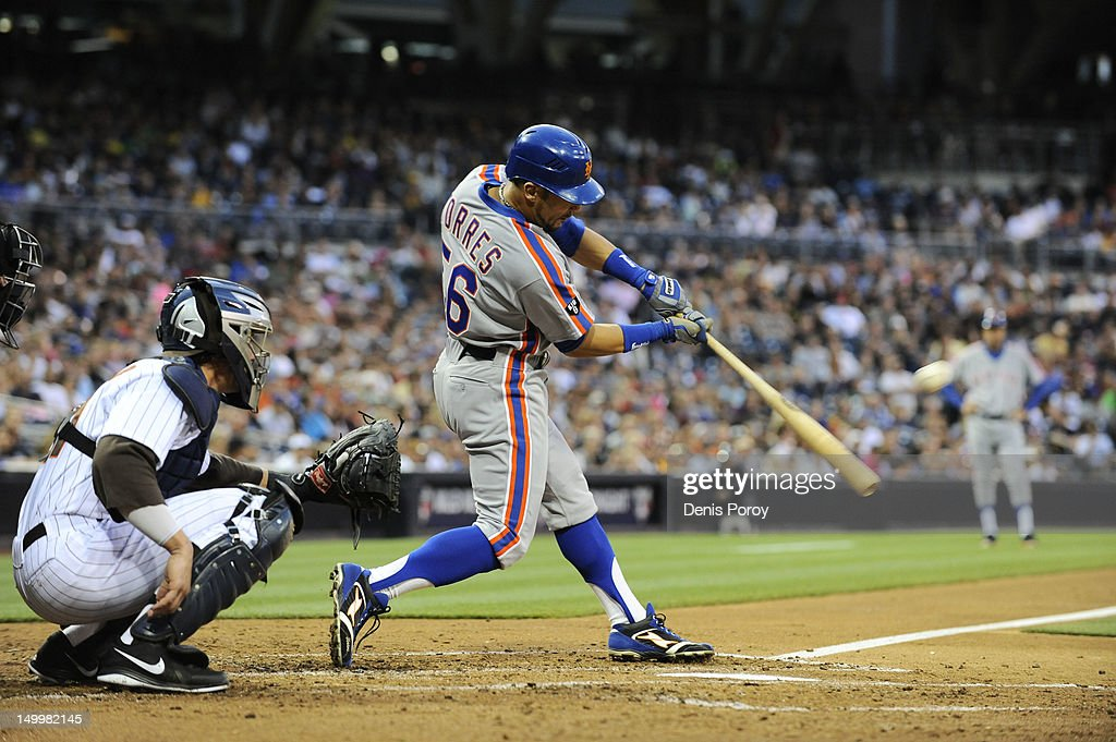 Andres Torres of the New York Mets bats during a baseball game against the San Diego Padres at Petco Park on August 3 2012 in San Diego California