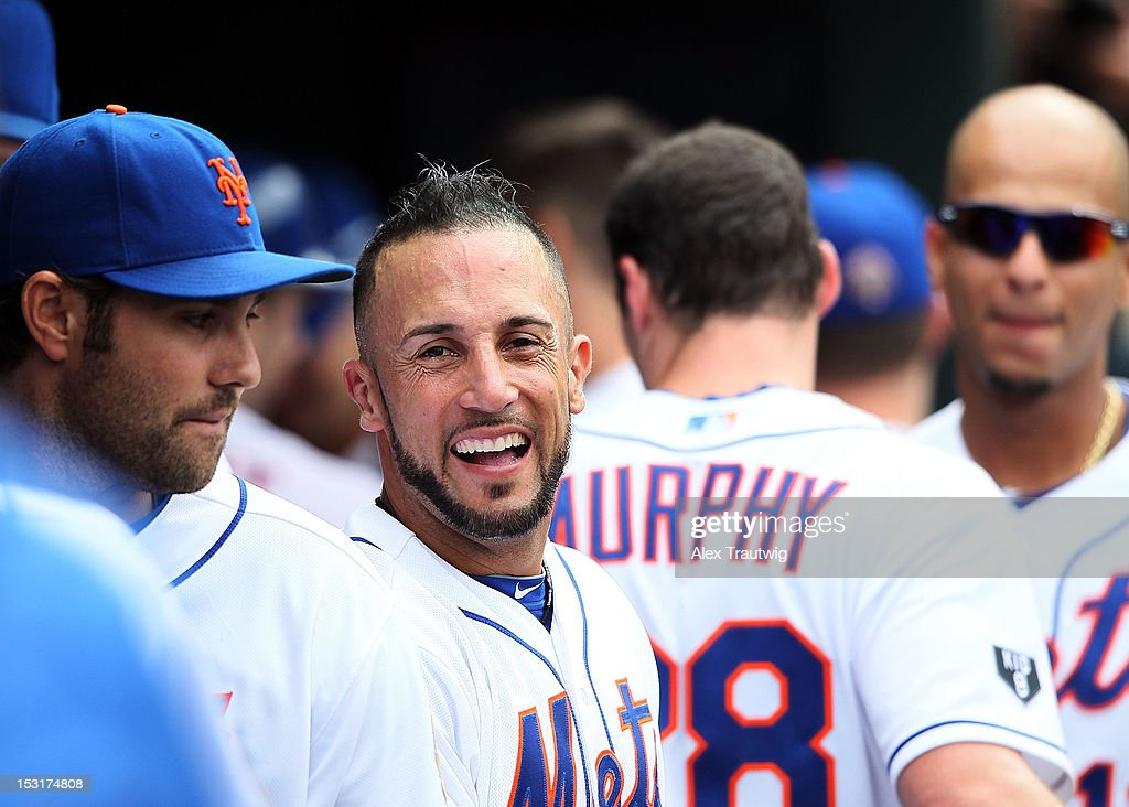 Andres Torres of the New York Mets in the dugout during a game against the Pittsburgh Pirates at Citi Field on September 27 2012 in the Flushing...