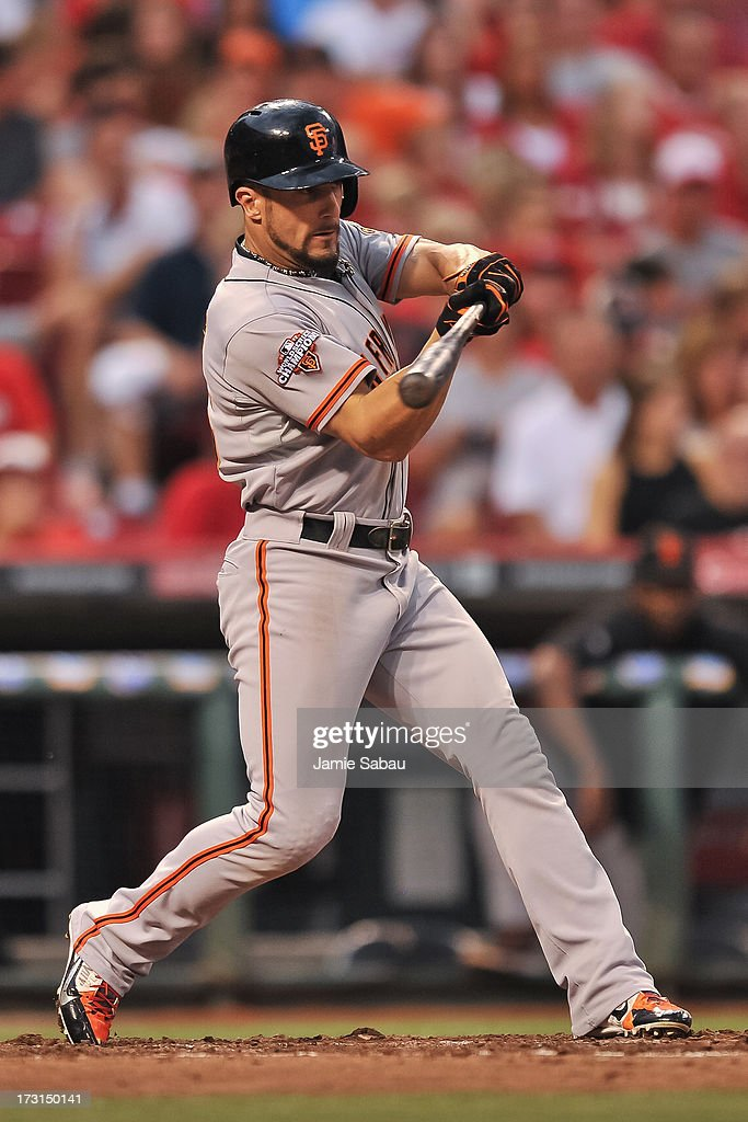 Andres Torres of the San Francisco Giants bats against the Cincinnati Reds at Great American Ball Park on July 3 2013 in Cincinnati Ohio