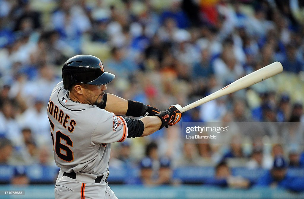 <a gi-track='captionPersonalityLinkClicked' href=/galleries/search?phrase=Andres+Torres&family=editorial&specificpeople=835839 ng-click='$event.stopPropagation()'>Andres Torres</a> #56 of the San Francisco Giants bats against the Los Angeles Dodgers at Dodger Stadium on June 24, 2013 in Los Angeles, California.