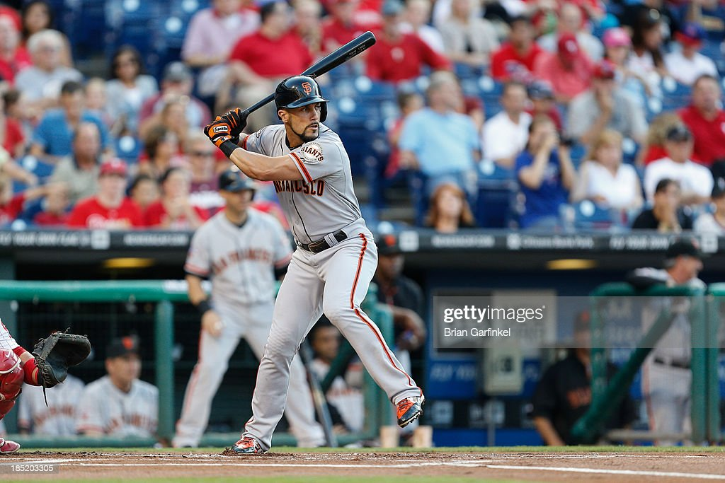 Andres Torres of the San Francisco Giants bats in the first inning of the game against the Philadelphia Phillies at Citizens Bank Park on July 30...