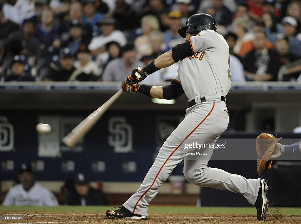 <a gi-track='captionPersonalityLinkClicked' href=/galleries/search?phrase=Andres+Torres&family=editorial&specificpeople=835839 ng-click='$event.stopPropagation()'>Andres Torres</a> #56 of the San Francisco Giants hits a double during the eighth inning of a baseball game against the San Diego Padres at Petco Park on July 16, 2011 in San Diego, California.
