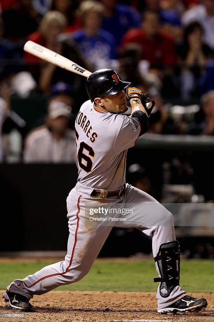 Andres Torres of the San Francisco Giants hits a RBI double in the top of the seventh inning the Texas Rangers in Game Four of the 2010 MLB World...