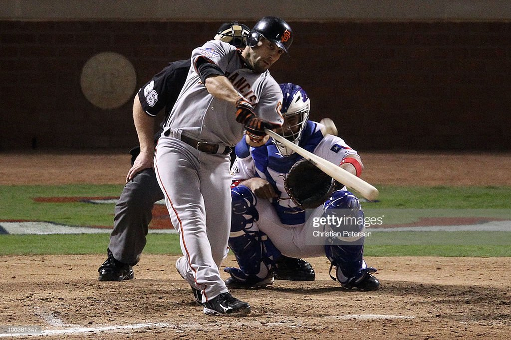 Andres Torres #56 of the San Francisco Giants hits a solo home run in the eighth inning against the Texas Rangers in Game Three of the 2010 MLB World Series at Rangers Ballpark in Arlington on October 30, 2010 in Arlington, Texas.