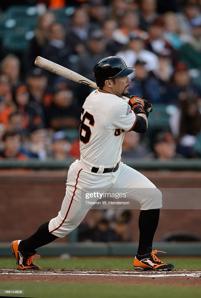 Andres Torres of the San Francisco Giants hits an RBI double scoring Hunter Pence against the Washington Nationals in the second inning at ATT Park...
