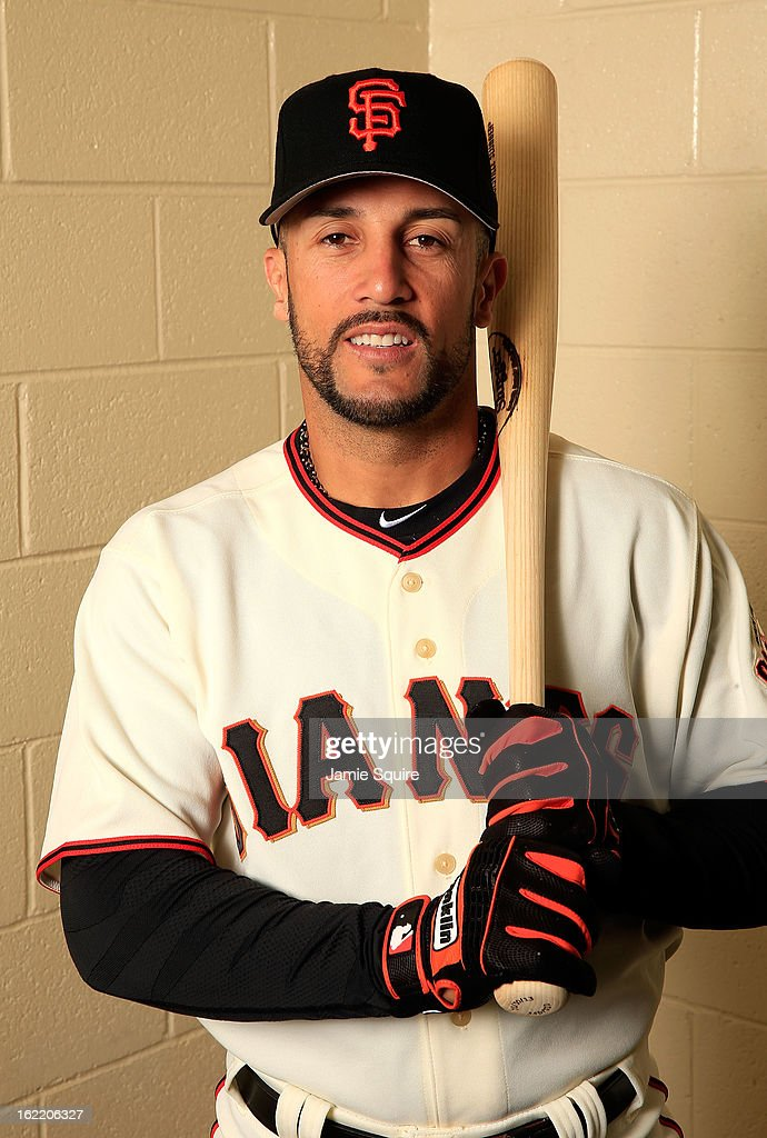 Andres Torres #56 poses for a portrait during San Francisco Giants Photo Day on February 20, 2013 in Scottsdale, Arizona.