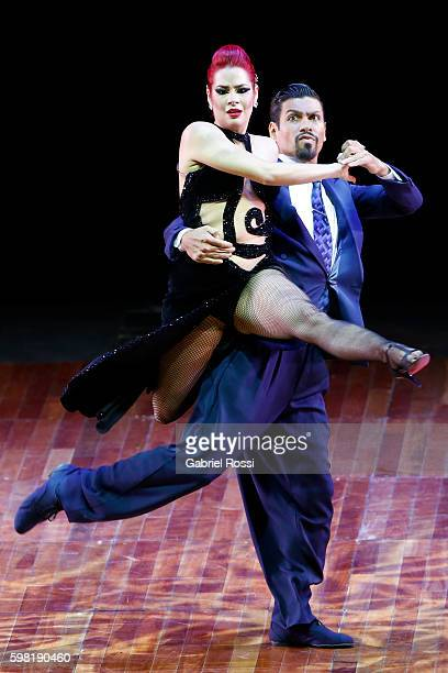 Andres Uran and Estefania Arango of Colombia dance during the Stage Tango Final as part of Buenos Aires Tango Festival World Championship 2016 at...