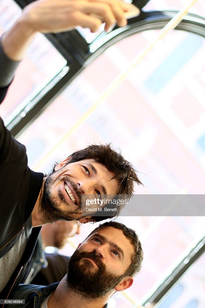 Andres Velencoso (L) and Alexandre Mattiussi attends Ami Mayfair Store Opening on May 4, 2016 in London, England.