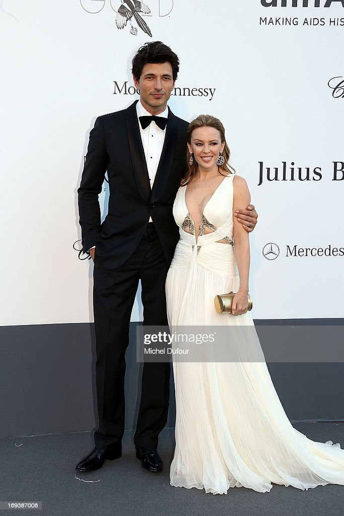 Andres Velencoso and <a gi-track='captionPersonalityLinkClicked' href=/galleries/search?phrase=Kylie+Minogue&family=editorial&specificpeople=201671 ng-click='$event.stopPropagation()'>Kylie Minogue</a> arrives at amfAR's 20th Annual Cinema Against AIDS at Hotel du Cap-Eden-Roc on May 23, 2013 in Cap d'Antibes, France.