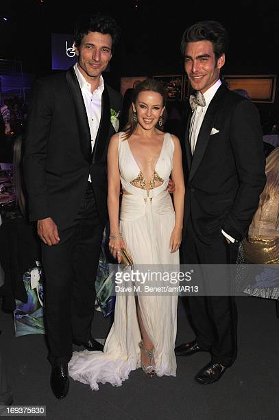 Andres Velencoso singer Kylie Minogue and model Jon Kortajarena attend amfAR's 20th Annual Cinema Against AIDS during The 66th Annual Cannes Film...