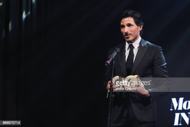 Andres Velencoso speaks on stage during the GQ Mexico Men of The Year Awards 2017 on October 26 2017 in Mexico City Mexico