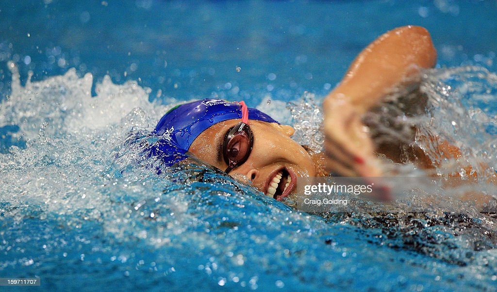 Andressa Cholodovskis Lima of Brazil swims the 4th leg during the final of the womens 400m freestyle at the Aquatic Centre at Sydney Olympic Park Sports Centre on January 19, 2013 in Sydney, Australia.
