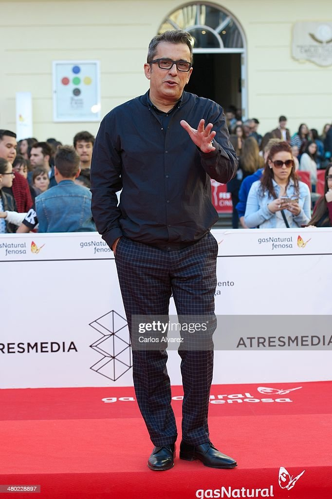 <a gi-track='captionPersonalityLinkClicked' href=/galleries/search?phrase=Andreu+Buenafuente&family=editorial&specificpeople=789448 ng-click='$event.stopPropagation()'>Andreu Buenafuente</a> attends the 'Amor en su Punto' premiere during the 17th Malaga Film Festival at the Cervantes Theater on March 23, 2014 in Malaga, Spain.