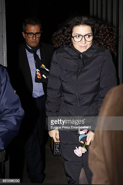 Andreu Buenfuente and Silvia Abril leave the Farewell Party for USA Ambassador in Spain James Costos on January 12 2017 in Madrid Spain