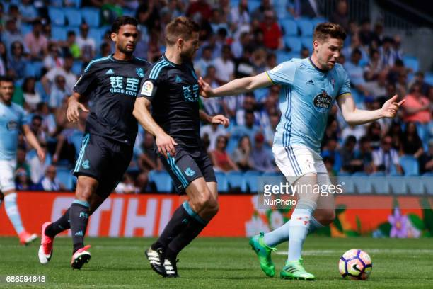 Andreu Fontas defender of Celta de Vigo drives the ball during the La Liga Santander match between Celta de Vigo and Real Sociedad de Futbol at...
