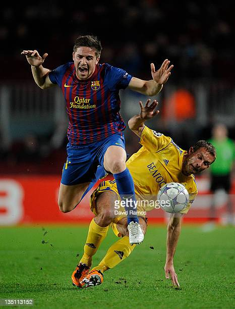 Andreu Fontas of FC Barcelona duels for the ball with Artyom Kontsevoi of FC BATE Borisov during the UEFA Champions League group H match between FC...
