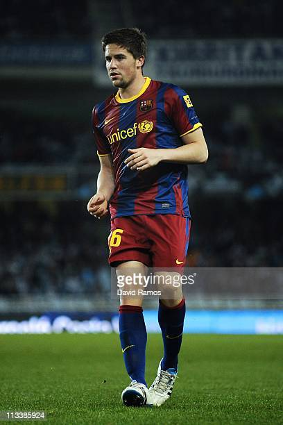 Andreu Fontas of FC Barcelona looks on during the La Liga match between Real Sociedad and Barcelona at Estadio Anoeta on April 30 2011 in San...