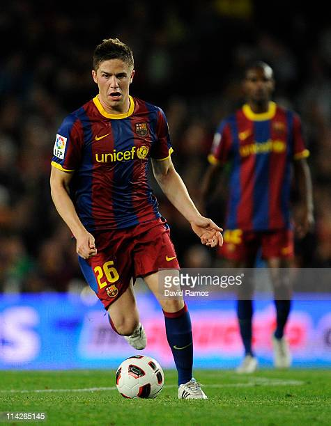 Andreu Fontas of FC Barcelona runs with the ball during the La Liga match between Barcelona and Deportivo La Coruna at Camp Nou Stadium on May 15...