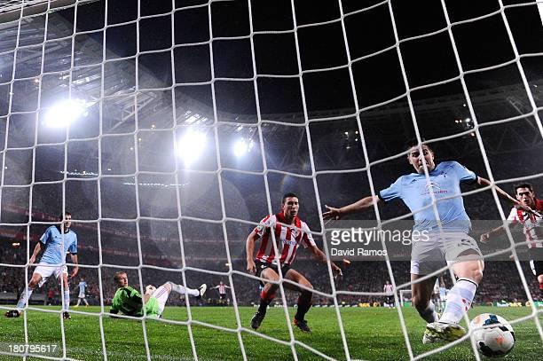 Andreu Fontas of RC Celta de Vigo saves a goal during the La Liga match between Athletic Club and RC Celta de Vigo at San Mames Stadium on September...