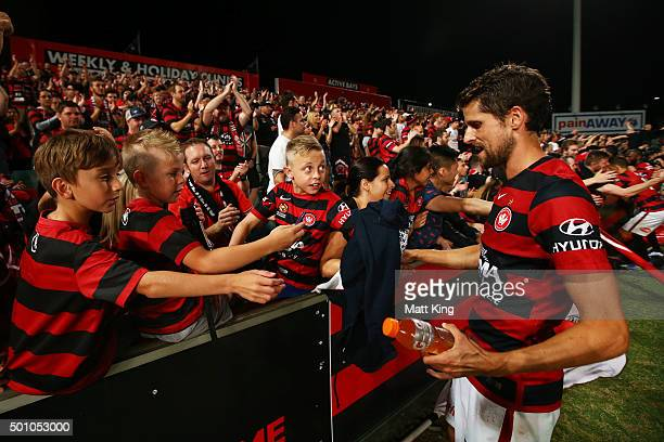 Andreu Guerao of the Wanderers interacts with fans after the round 10 ALeague match between the Western Sydney Wanderers and Melbourne Victory at...