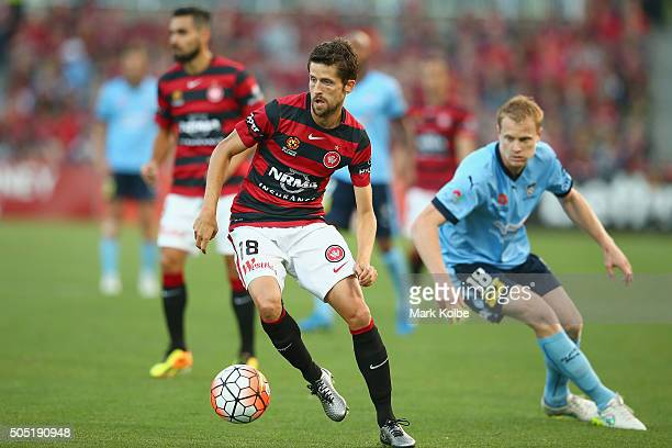 Andreu of the Wanderers runs with ball during the round 15 ALeague match between the Western Sydney Wanderers and Sydney United at Pirtek Stadium on...