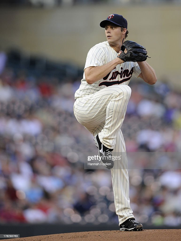 Andrew Albers #63 of the Minnesota Twins delivers a pitch against the Kansas City Royals during the first inning of the game on August 28, 2013 at Target Field in Minneapolis, Minnesota.