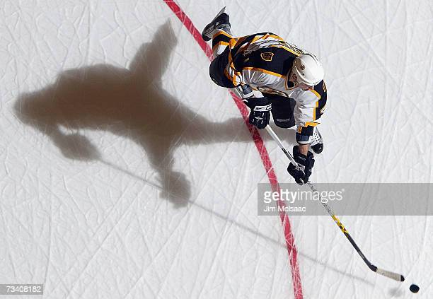Andrew Alberts of the Boston Bruins warms up before the game against the New York Islanders on February 15 2007 at Nassau Coliseum in Uniondale New...