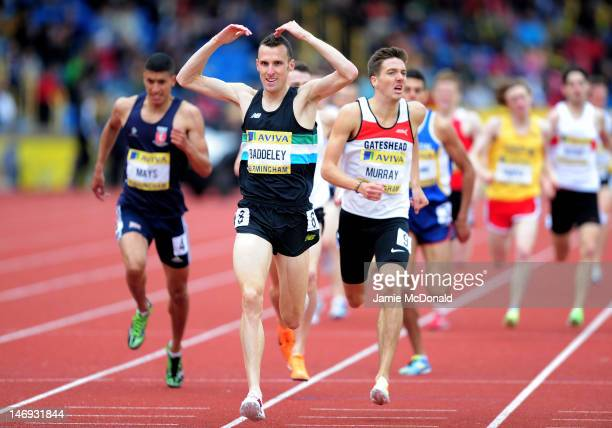 Andrew Baddeley of Great Britain celebrates winning the Men's 1500 Metres Final during day two of the Aviva 2012 UK Olympic Trials and Championship...