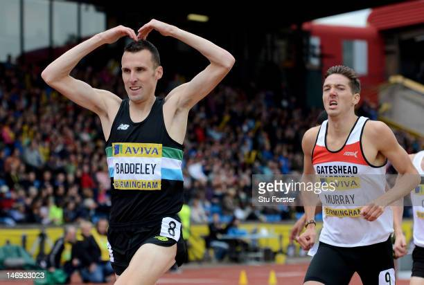 Andrew Baddeley of Great Britain wins the Men's 1500 Metres Final with Ross Murray in second during day two of the Aviva 2012 UK Olympic Trials and...