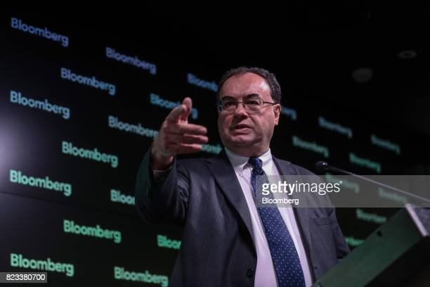 Andrew Bailey chief executive officer of the Financial Conduct Authority gestures while delivers a speech on the future of libor in London UK on...