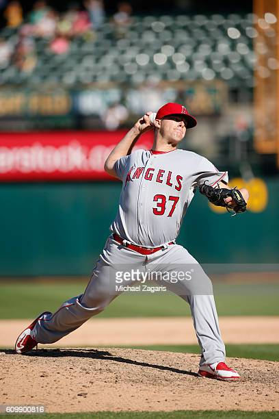 Andrew Bailey of the Los Angeles Angels of Anaheim pitches during the game against the Oakland Athletics at the Oakland Coliseum on September 5 2016...