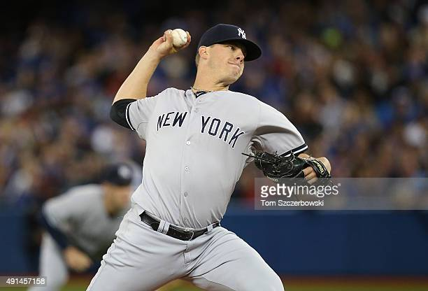 Andrew Bailey of the New York Yankees delivers a pitch in the eighth inning during MLB game action against the Toronto Blue Jays on September 21 2015...