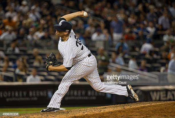 Andrew Bailey of the New York Yankees pitches during the game against the Toronto Blue Jays at Yankee Stadium on Friday September 11 2015 in the...
