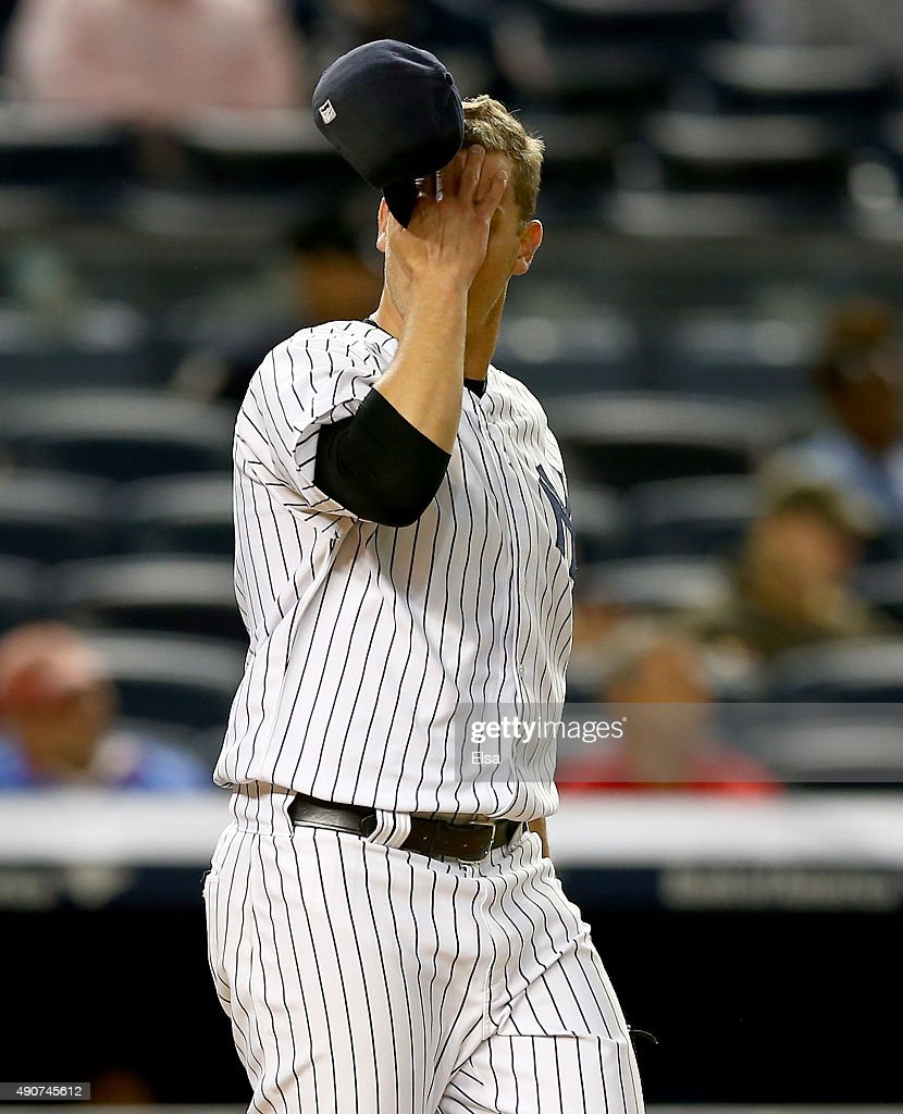 Andrew Bailey #38 of the New York Yankees reacts in the 11th inning against the Boston Red Sox on September 30, 2015 at Yankee Stadium in the Bronx borough of New York City.